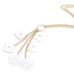 Keleo - 18K White & Yellow Gold Dangling Squares Necklace