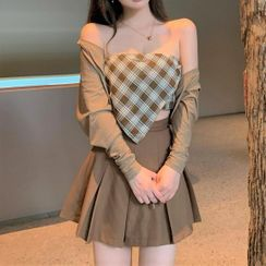 Rerise - Plaid Camisole Top / A-Line Skirt / Cardigan