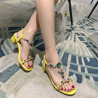 Megan - 水钻多带粗跟凉鞋