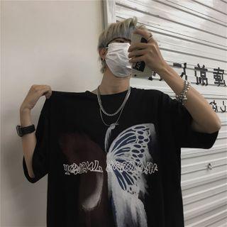 Giuliana - Oversized Butterfly Print Short Sleeve T-Shirt