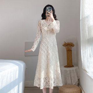 Onjo - Long-Sleeve Midi A-Line Lace Dress