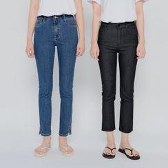 HOTPING - Slim-Fit Straight-Cut Jeans (Petite/Tall)