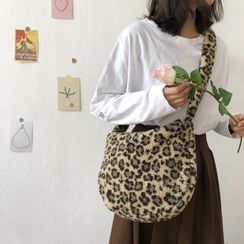 TangTangBags - Faux Shearling Leopard Print Crossbody Bag