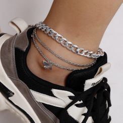 Seirios - Set of 3: Chain Anklet + Butterfly Anklet