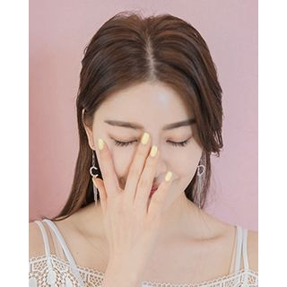 Miss21 Korea - Fringed Letter Drop Earrings
