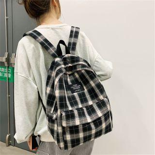 Evanki - Plaid Canvas Backpack