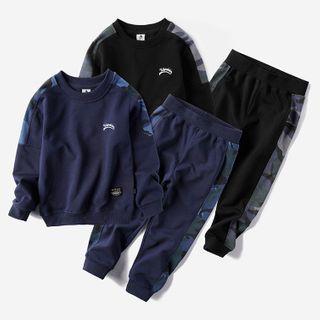 Happy Go Lucky - Kids Set: Camo Panel Sweatshirt  + Sweatpants