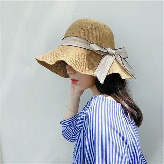 LANWO - Foldable Ruffle Straw Hat