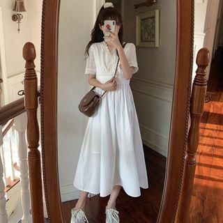 Guajillo - Lace Trim A-Line Midi Dress