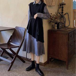Apotheosis - Set: Asymmetric Hem Knit Vest + Pleated Long Sleeve Shirtdress