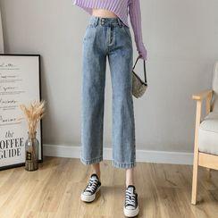 Luminato(ルミナート) - High-Waist Cropped Straight Leg Jeans