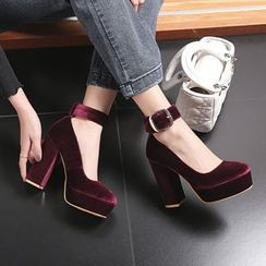 JY Shoes - Chunky-Heel Platform Velvet Pumps