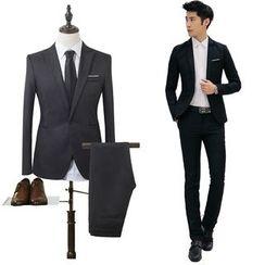 Fireon - Set: Pocketed One-Button Blazer + Plain Dress Pants