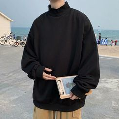 Mr. Right - Plain Mock-Neck Sweatshirt