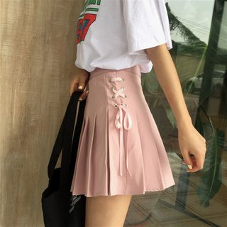 Anlay - Lace-Up Pleated Mini Skirt