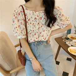 Luna Rouge - Puff-Sleeve Floral Print Square-Neck Blouse