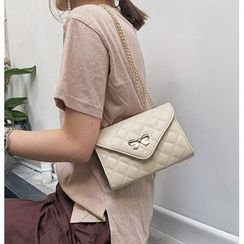 Diamante(ディアマンテ) - Quilted Faux Leather Ribbon Shoulder Bag