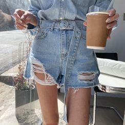 DEEPNY - Distressed Denim Shorts with Belt