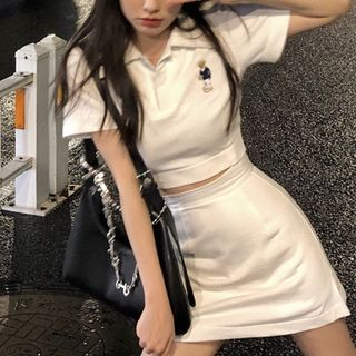 Horis - Set: Short-Sleeve Polo Shirt + Mini Skirt