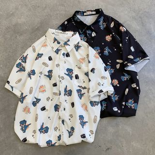 Tonni's - Elbow-Sleeve Cartoon Dinosaur Printed Shirt