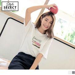OrangeBear - 质感细绒布相片印图圆领T恤/上衣