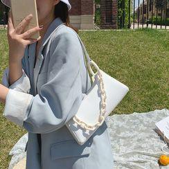 Skyglow - Croc Grain Faux Leather Shoulder Bag