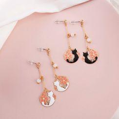 Green Isle - Alloy Cat & Flower Dangle Earring