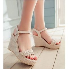 Freesia - Woven Wedge Sandals