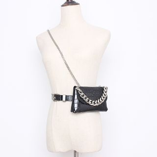 BLOCKHOUSE - Chained Faux Leather Belt Bag