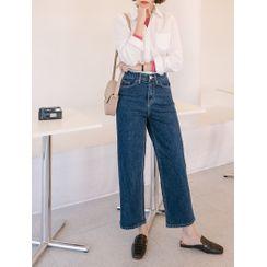 J-ANN - PLUS SIZE Band-Waist Wide-Leg Jeans