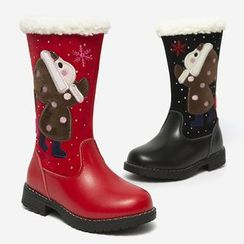 SNOFFY - Kids Genuine Leather Tall Snow Boots