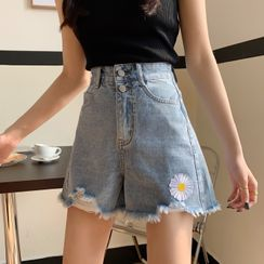 Whoosh - Floral Embroidery Denim Shorts
