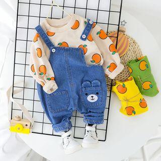 Hecto - Kids Set: All Over Print Sweatshirt + Denim Jumper Pants