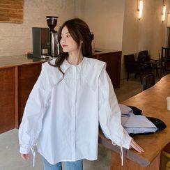 Mikiko - Puff-Sleeve Pointed Collar Shirt