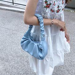 Minafox - Plain Shirred Zip Crossbody Bag