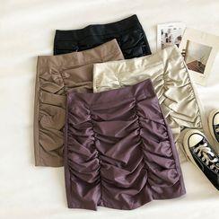 DIYI - Plain High-Waist Frilled A-Line Skirt