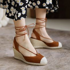 Megan(ミーガン) - Braided Panel Wedge-Heel Pumps