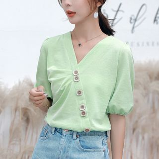 Coheat - Short-Sleeve Chiffon Top