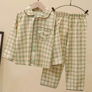 Ouron - Kids Plaid Pajama Set: Top + Pants