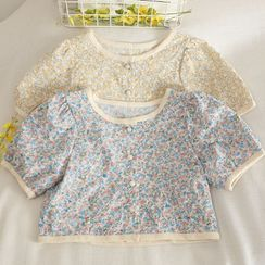 Pinatra - Short-Sleeve Floral Cropped Blouse