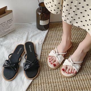 Yuki Yoru - Faux Leather Bow Slide Sandals