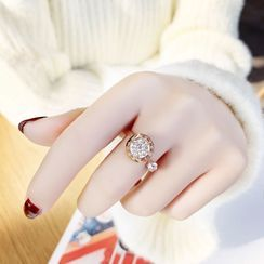 Carabel - Roman Number Engraved Rhinestone Open Ring