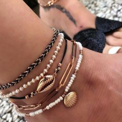 Yongge - Set of 5 : Shell / Faux Pearl / Alloy Anklet (assorted designs)