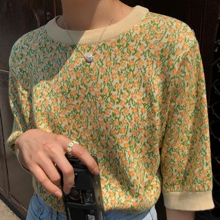 Dute - Elbow-Sleeve Floral Knit Top