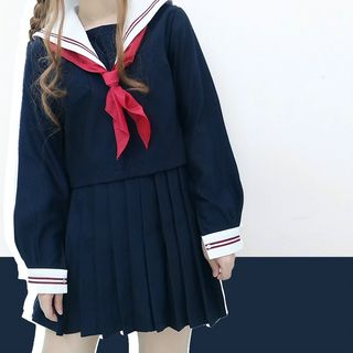 Tomoyo - Set: Long-Sleeve Top + Pleated Mini Skirt + Triangle Scarf