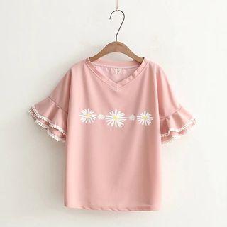 PANDAGO - Flower Print Short Sleeve Chiffon T-Shirt