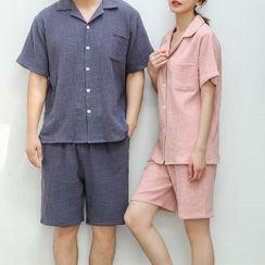 Dogini - Couple Matching Pajama Set: Pocket Detail Short-Sleeve Shirt + Shorts