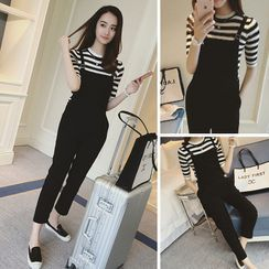 Monwa - Striped Elbow-Sleeve T-Shirt / Cropped Jumper Pants / Cropped Straight-Fit Pants / Set