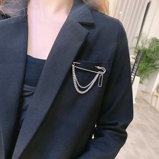 Ticoo - Alloy Safety Pin Chained Brooch