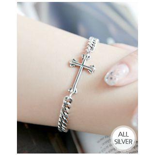 Miss21 Korea - Cross-Charm Silver Chain Bracelet